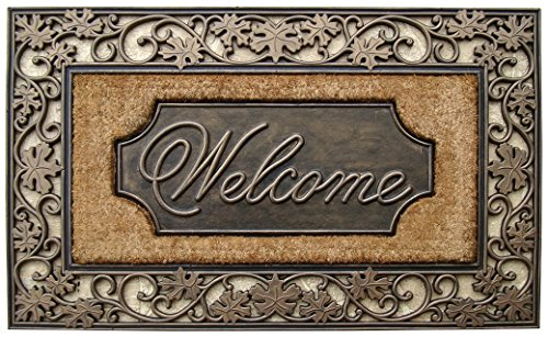 A1HC First Impression Welcome Coir Doormat | 23.5 x 38 inch | Standard Welcome Mat with Bronze Finish and Natural Fade | Rubber Backed | Outdoor | Heavy and Durable | for Single and Double Doors