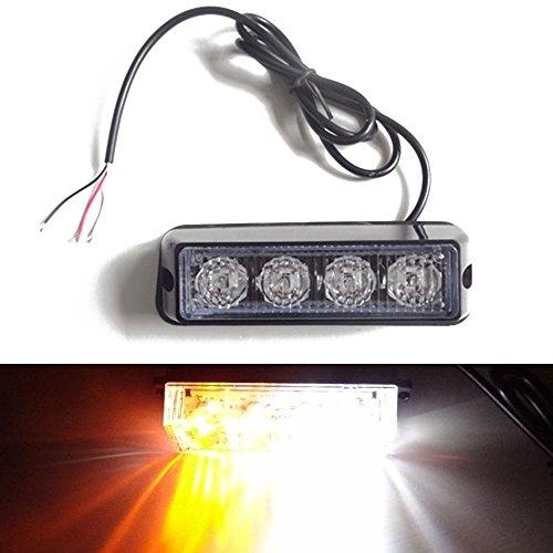 Viktion 12-24V 8W 4 LEDs Feux de Pénétration Lumière Stroboscopique Eclairage Clignotant à 17 Modes pour Voiture Camion véhicule SUV (Blanc & Jaune)