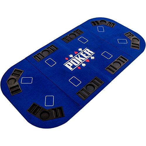 """Maxstore Faltbare Pokerauflage """"Straight"""" für bis zu 8 Spieler, Maße 160x80 cm, MDF Platte, 8 Getränkehalter, 8 Chiptrays, blau"""