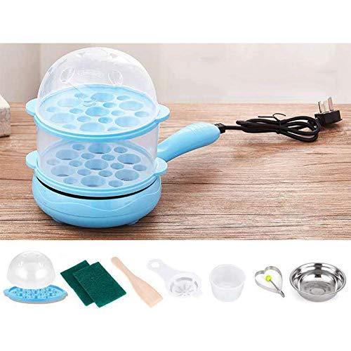 Multi Eierkocher, 7 Eier Elektro Mini Bratpfanne Dampfgarer Anti Zunge Automatische Temperierung, Gelb AQUILA1125 (Color : Blue)