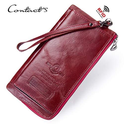 Dames RFID Blokkeren Echt Lederen Clutch Portemonnee met Polsband Dames portemonnee Koeienhuid Handgemaakte Kaarthouder Organizer Dames Handtas met Rits Pocket