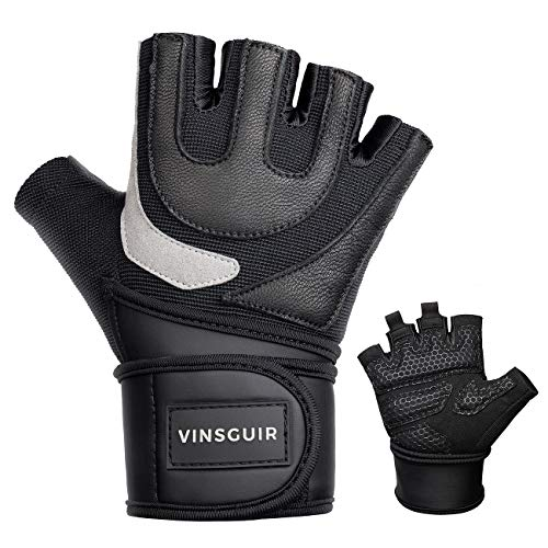 """Vinsguir Workout Gloves Men & Women, Durable Leather Disign Gym Gloves, Weight Lifting Gloves with Built-in Adjustable Wrist Wraps, for Exercise, Gym, Training, Fitness (Black, M (7.5""""-7.9""""))"""