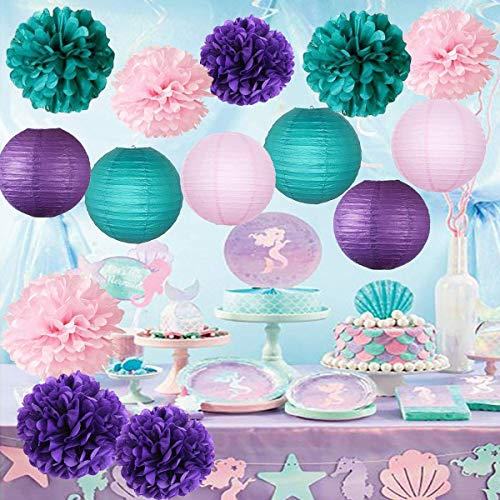 Furuix unter dem Meer Party Decor / lila Teal Pink Party Dekorationen lila Petrol / Pom Pom Papier Laternen kleine Meerjungfrau Party Dekorationen / Mermaid Bridal Shower Decor