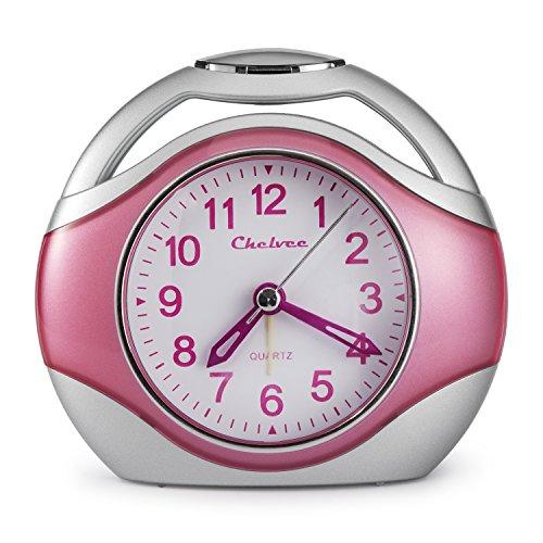 Chelvee Alarm Clock, Portable Quartz Analog Alarm Clock for Kids and Traveler, Night Light, Snooze, Non-Ticking, AA Battery Powered (Pink)