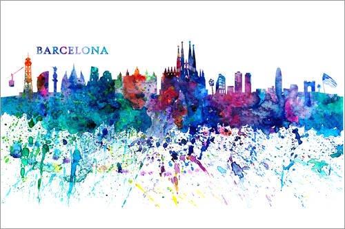 Póster 30 x 20 cm: Skyline of Barcelona de M. Bleichner - impresión artística, Nuevo póster artístico