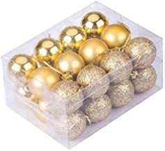 Fizzytech Christmas Xmas Tree 3CM Golden Ball Bauble Hanging Party Ornament (Pack of 12 3CM)