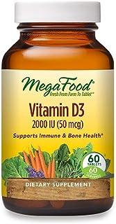 MegaFood, Vitamin D3 2000 IU, Immune and Bone Health Support, Vitamin and Dietary Supplement, Gluten Free, Vegetarian, 60 ...