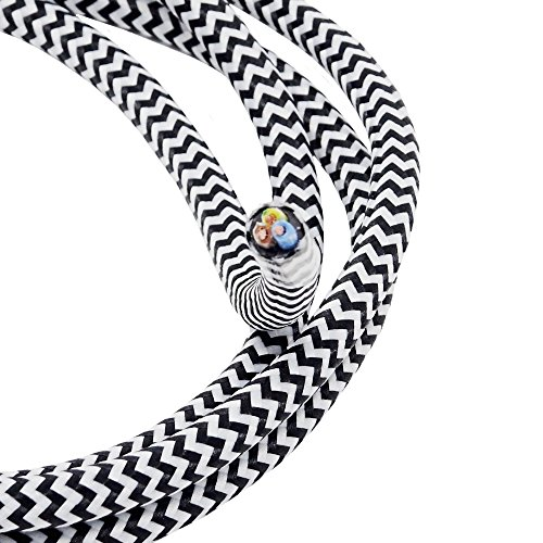 Stoffkabel Schwarz Weiß gezackt Länge wählbar 3 Meter 3-adriges Textilkabel Mit Stoff umsponnen Lampenkabel Leuchtenkabel Kabel