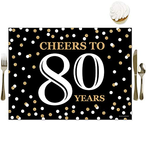 Cheers to 80 Years Placemats - Set of 16