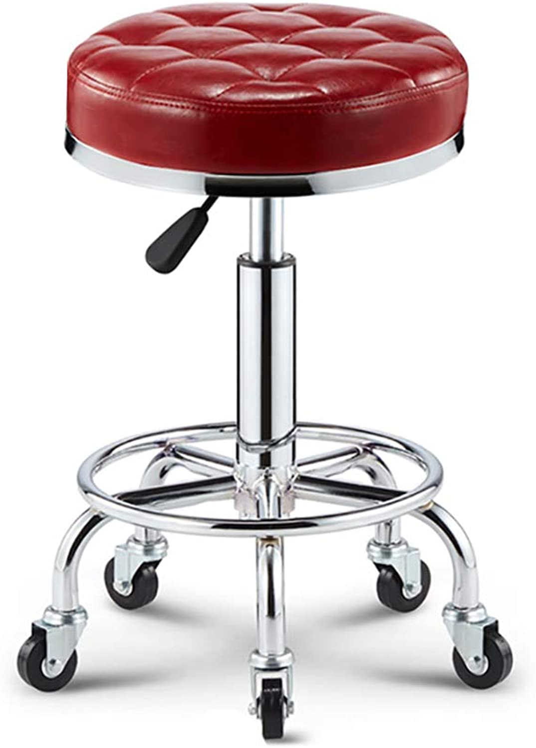 Adjustable Height Chair with Wheels for Work, bar, Dining Table, etc-red