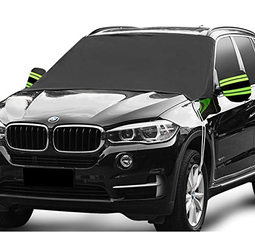 AUTOCLUB Car Windshield Snow Cover,3-Layer Protection&Double Side Design,Snow, Ice, Frost,UV Full Protection,Extra Large & Thick Fit for Most Vehicle(87'x50')