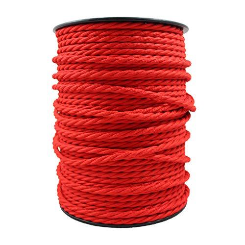 smartect Lampenkabel aus Textil in der Farbe Rot - 2 Meter Textilkabel - 3-Adrig (3 x 0.75mm²) - Textilummanteltes Stromkabel für DIY Projekt