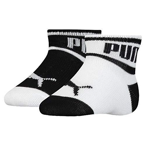 PUMA Baby Wording Socks (2 Pack) Calzini, Nero/Bianco, 19-22 Unisex-Bimbi