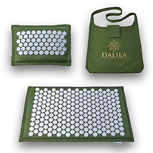 Dalila - Set Tappetino Agopressione + Cuscino Agopressione Per Massaggio Schiena, Cervicale. Tappeto Agopressione Per Alleviare Dolore Al Collo, Migliora...