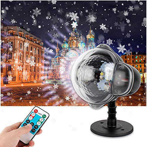Wilktop LED Projektionslampe, LED Schneeflocken Projektor mit Intelligente Fernbedienung Weihnachtsprojektor IP65 Wasserdicht Außen Weihnachtsbeleuchtung für Weihnachten und Geburstag Hochzeit Party.