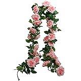 SHACOS Lot de 3 Fleur Artificielle à Suspendre Fleur Rose Guirlande de Lierre Artificiel Guirlande de Rose Paniers Mariage Jardin Décoration (2,0 m Chaque Mèche)