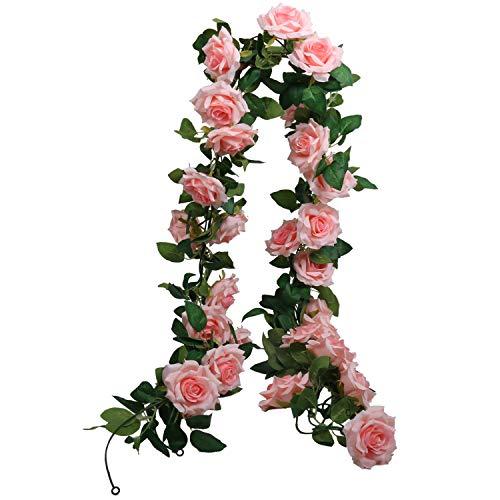 SHACOS 3 Stück Blumen Girlanden Rosa Künstliche Rosen Girlanden Vintage 198cm Hängende Girlande Ideal für Dekor Weihnachten Hochzeit usw.