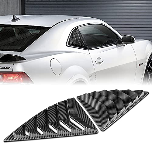 DRIFTX PERFORMANCE SIDE WINDOW LOUVERS CARBON LOOK ABS FIT FOR COMPATIBLE 2010-2015 CHEVY CAMARO SLOTTED LOUVER SCOOP COVER VENT (2PCS)