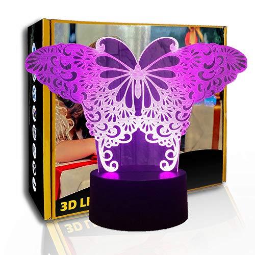 KangYD Pretty Butterfly 3D Illusion Night Light, lámpara LED, decoración de la habitación, A - Touch negra Base (7 colores), Artesanía, Lámpara moderna, Lámpara visual