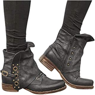 Amlaiworld Women Winter Boots PU Leather Buckle Ankle Boots Heel Boots Large Size Side Zipper Casual Shoes