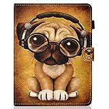 Coopay Portátil Universal para niños Tableta para animales de 10' con patrón y con una linda cartera perros Funda protectora integral contra golpes para perros Rabatable y soporte interno silicona