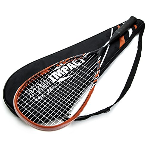 Pro Impact Graphite Squash Racket - Full Size with Carry On Cover and Durable Strings - Made of Pure Graphite Designed to Improve Gameplay for All Skill Levels (RED/Black)