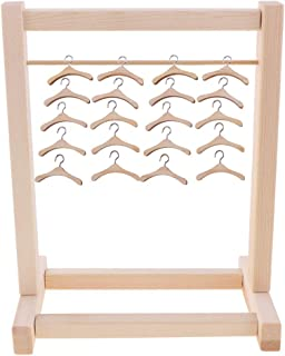 Doll Dress Coat Jacket Organization Shelf with 20pcs Clothes Hangers for Blythe 12inch Dolls Dollhouse Accessories and Furniture