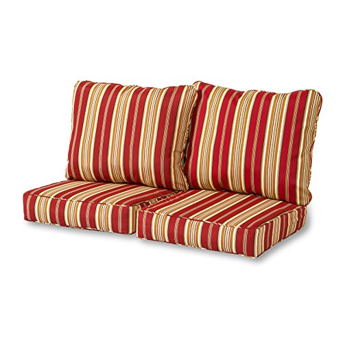 Greendale Home Fashions Deep Seat Loveseat Cushion Set, Roma Stripe