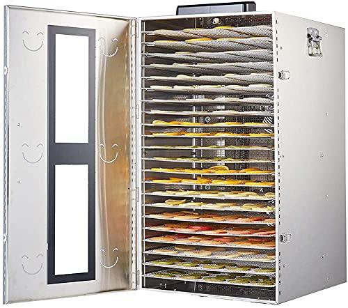 Wxnnx Disidratatore per Alimenti in Acciaio Inox 18 vassoi, impostazione Temperatura 30~90°C, Max 24 Ore, essiccatore per Frutta, 1500W