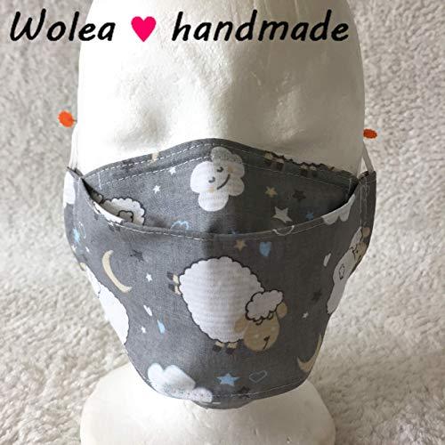 Wolea handmade Stoff Mund Nase Abdeckung Maske Mundbedeckung Gesichtsmaske Mund-Shirt Nasenstoff Behelfsmaske Nasenbügel Schaf Waschbar