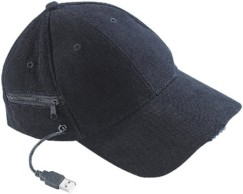 infactory Basecap: LED-Baseball-Cap mit 2 wiederaufladbaren Mini-Akkus (Basecap LED)