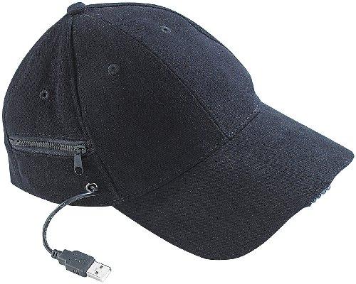 infactory Basecap: LED-Baseball-Cap mit 2 wiederaufladbaren Mini-Akkus (LED Basecap)