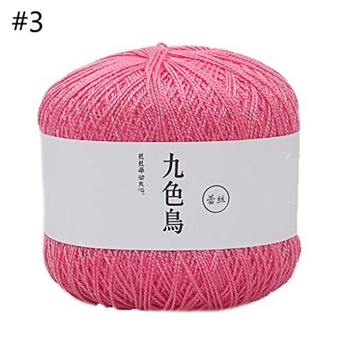 GHBOTTOM 50 g di seta e cotone colorato morbido cashmere filato sciarpa filo uncinetto 3