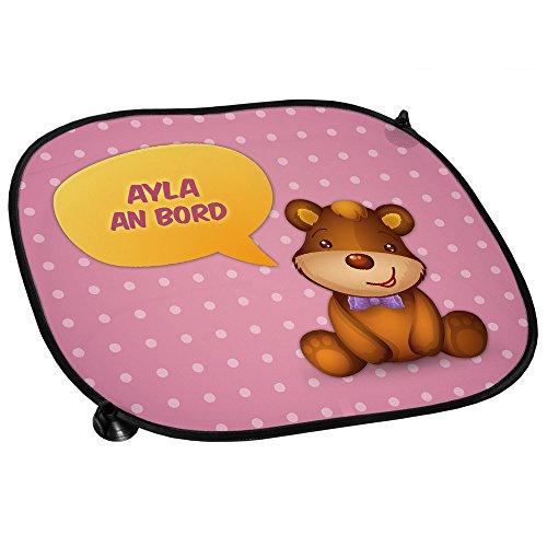 Auto-Sonnenschutz mit Namen Ayla und schönem Teddybär-Motiv für Mädchen - Auto-Blendschutz - Sonnenblende - Sichtschutz