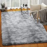 Homore Soft Velvet Fluffy Rugs, Abstract Accent Rug for Kids Bedroom Nursery Room Modern Indoor Furry Rug Luxury and Comfy Floor Mat for Living Room Dorm and Home Decor, 5x8 Feet, Light Gray