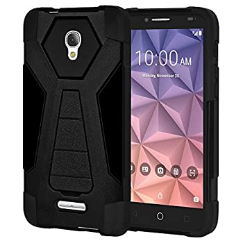 AMZER Slim Protective Shockproof Dual Layer Case Hybrid Heavy Duty Cover Skin for Alcatel Fierce 4 Alcatel OneTouch Allura Alcatel Pop 4 Plus - Black Rugged