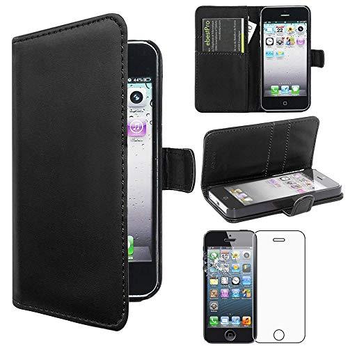 ebestStar - Cover Compatibile con iPhone SE 5S 5 Custodia Portafoglio Pelle PU Protezione Libro Flip, Nero + Pellicola Vetro Temperato [Apparecchio: 123.8 x 58.6 x 7.6mm, 4.0'']