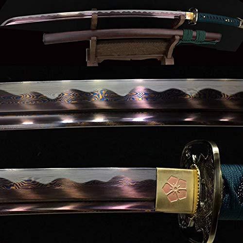 Purple Blade Katana Damascus Folded Steel Japanese Samruai Sword Razor Sharp Real Combat Knife