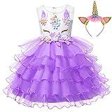 LZH Mädchen Einhorn Party Kleid Blume Rüschen Cosplay Geburtstag Prinzessin Kleid, 458-lila(mit...