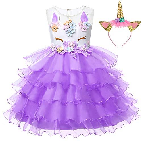 LZH Mädchen Einhorn Party Kleid Blume Rüschen Cosplay Geburtstag Prinzessin Kleid, 458-lila(mit Haarband), 120