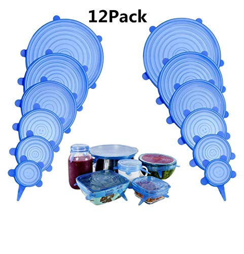 NIFOGO Coque en Silicone Stretch Couvercle Silicone Alimentaire, Kit de Couvercle Extensible Film Frais Hermétiques en Silicone, 12 Pcs, Flexible, Réutilisable (Bleu)