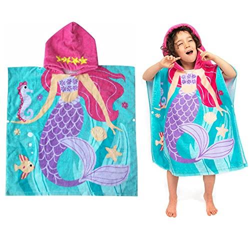 HausFine Asciugamano Bambini Poncho con Cappuccio in 100% Cotone Unicorno Teli Mare Asciugamani Sport per i Ragazzi e Le Ragazze Beach Wrap Bambini con Cappuccio Swim Spiaggia Asciugamano da Bagno