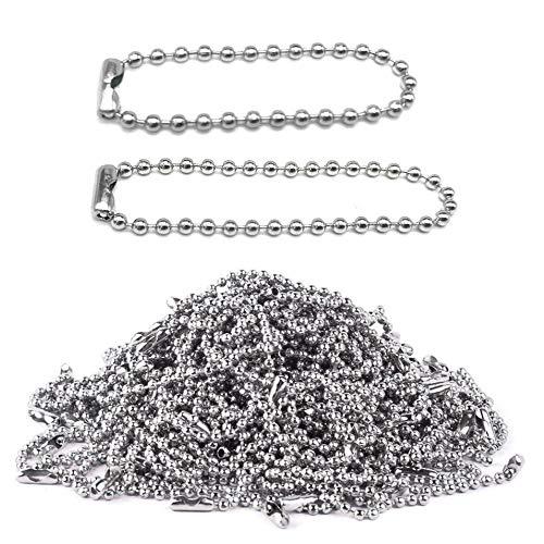 Nsiwem Kugelkette Edelstahl 200 Stück Edelstahlkette 2,4 mm Stahlkette Eisenkugel Ketten Etikett Kette Schlüsselanhänger mit Anschlüssen für DIY Schmuck Basteln 10cm/15cm Silber