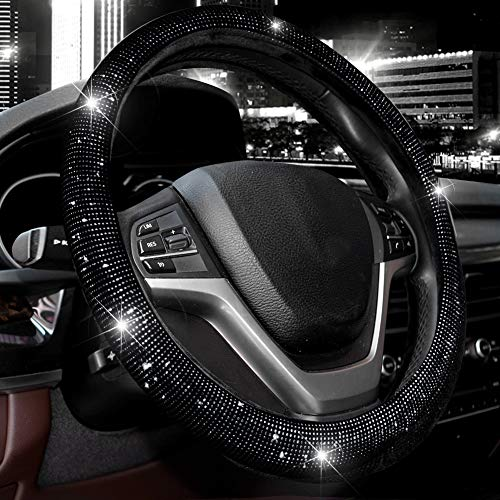 "Valleycomfy Steering Wheel Cover for Women Bling Bling Crystal Diamond Sparkling Car SUV Wheel Protector Universal Fit 15 Inch (Black with Black Diamond, Standard Size(14"" 1/2-15"" 1/4))"