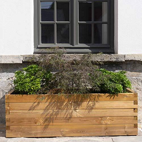 Forest Style Grand bac à Fleurs rectangulaire en Bois traité - (180 × 50 × H50 cm / 256L) - Bromelia