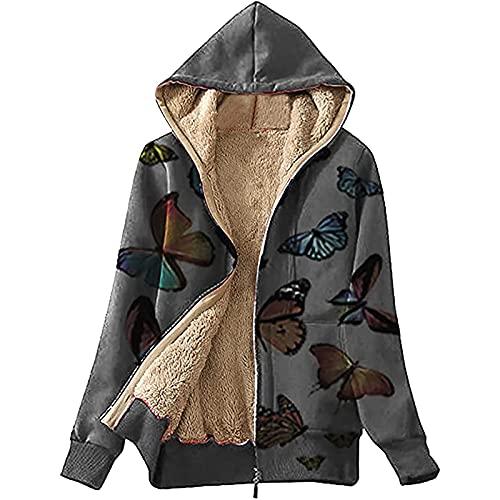 Womens Tops Butterfly Print Hoodie Plus Size Long Sleeve Zipper Up Coat Fuzzy Fleece Jacket Winter Warm Cozy Outwear Black