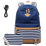 Mochila Escolares Mujer Mochila de Lona Casual Backpack Laptop Mochila para Ordenador Portátil 15.6 Pulgadas, USB...