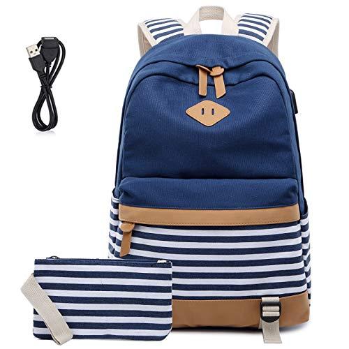 Mochila Escolares Mujer Mochila de Lona Casual Backpack Laptop Mochila para Ordenador Portátil 15.6 Pulgadas, USB Charging Port(Azul)