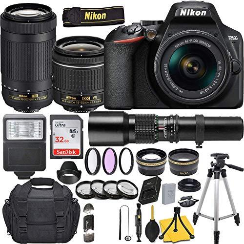 Nikon D3500 DSLR Camera with AF-P DX NIKKOR 18-55mm f/3.5-5.6G VR + AF-P NIKKOR 70-300mm f/4.5-6.3G ED + 500mm Preset Lens and Deluxe Accessory Bundle