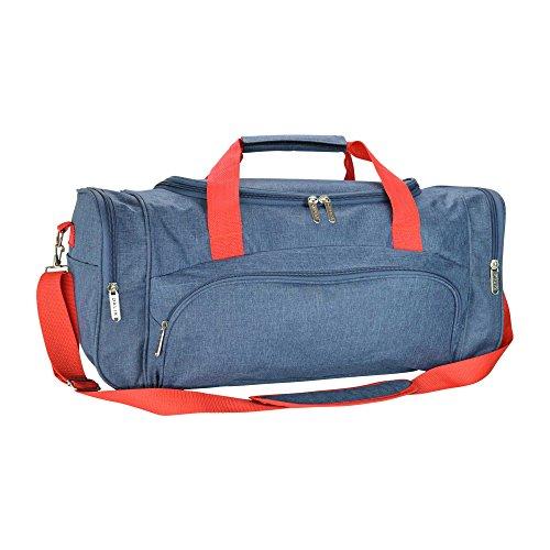 "Dalix Large 25"" Signature Travel Gym Bag w/Premium Lining Navy Blue Red"
